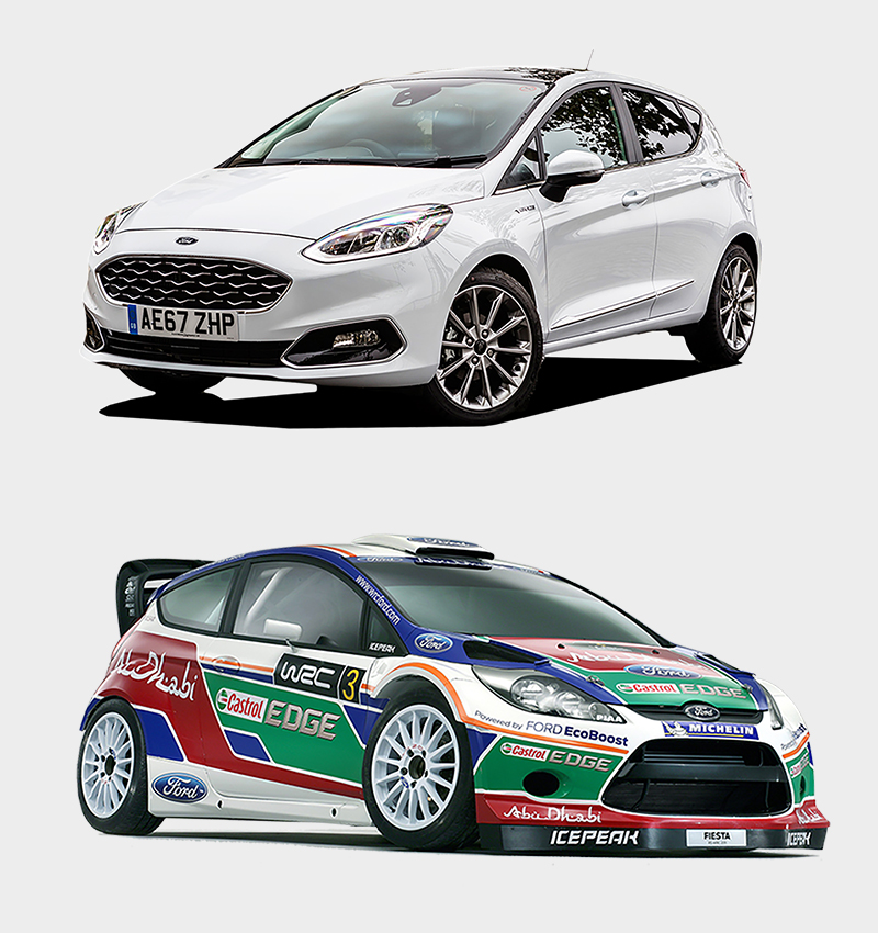 Two Ford Fiestas, one every day car and one decorated with rally sponsorship stickers